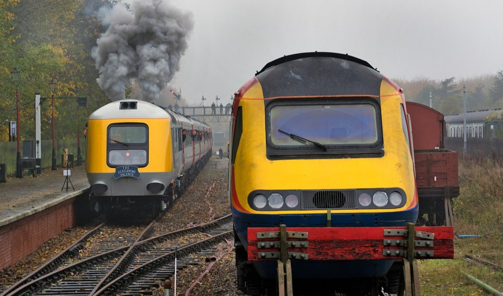 Prototype HST Power Car 41001 departs from Ruddington GCR(N), starting its first passenger train for 38 years, 'The Screaming Valenta', alongside the East Midlands Trains production power car it has replaced, 15th November 2014. Photo Copyright Craig Simmons.
